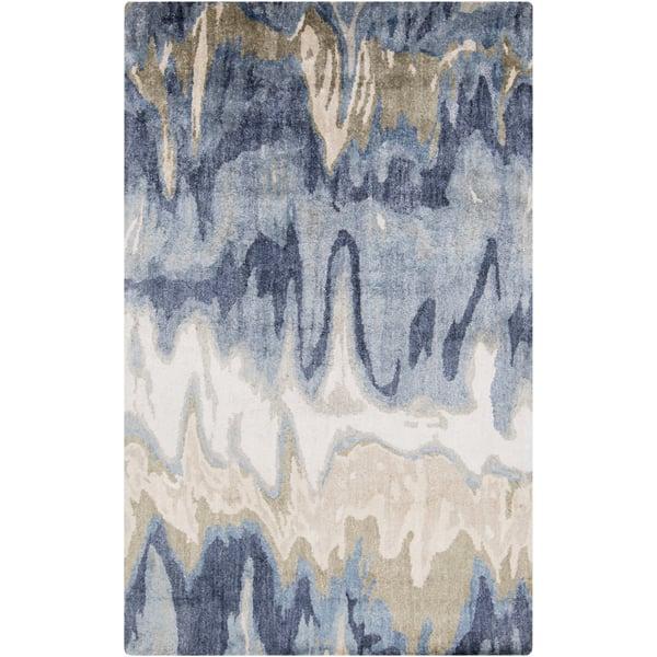 Beige, Denim, Navy Contemporary / Modern Area-Rugs