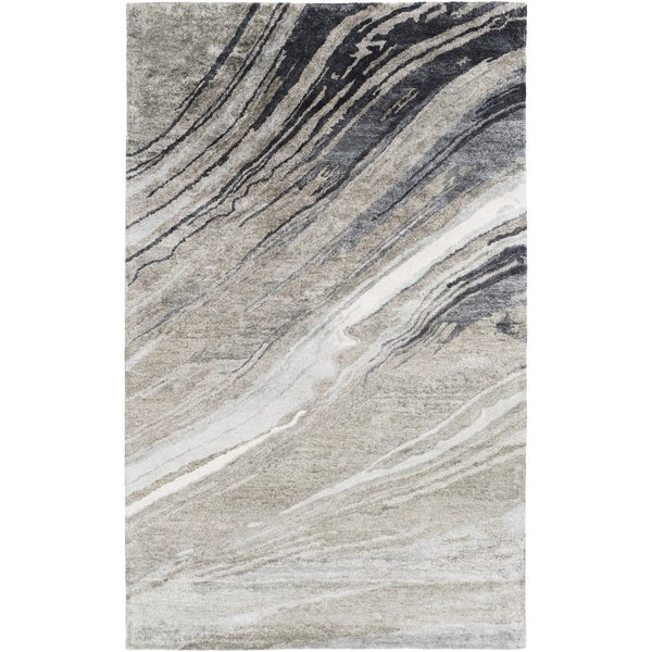 Charcoal, Medium Grey, Ivory Contemporary / Modern Area Rug