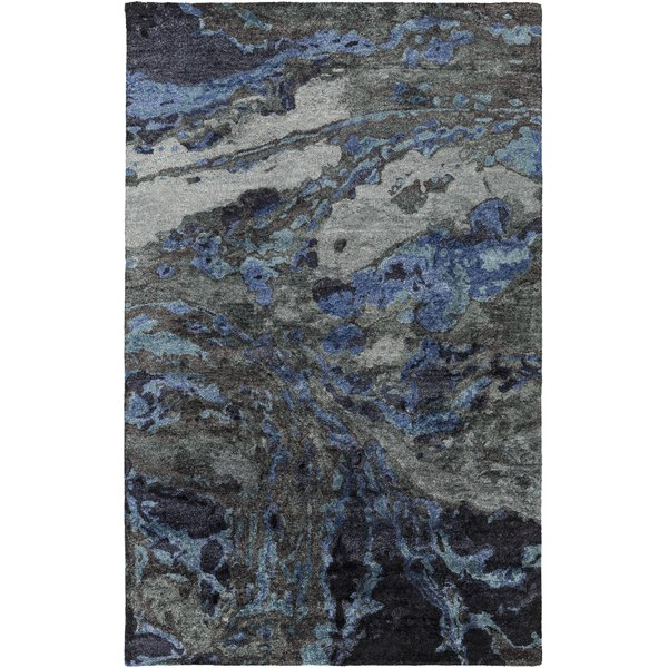 Charcoal, Teal, Cobalt Contemporary / Modern Area Rug