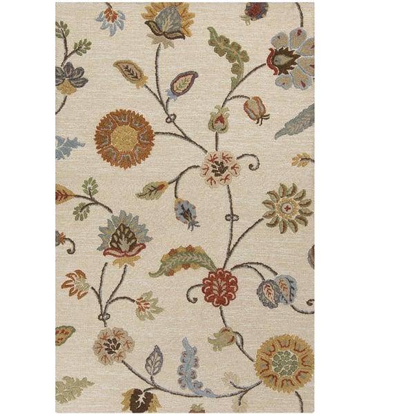 Taupe, Burnt Orange, Olive (SRT-2002) Floral / Botanical Area Rug