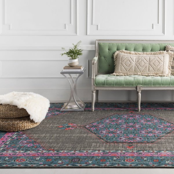 Charcoal, Teal, Bright Pink, Aqua, Light Gray Traditional / Oriental Area-Rugs