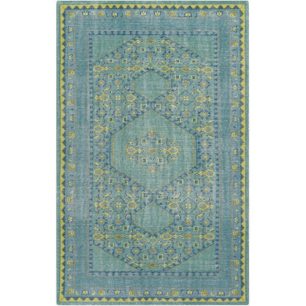 Teal, Lime, Olive, Dark Blue, Aqua Traditional / Oriental Area Rug