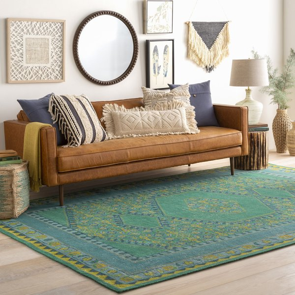 Teal, Lime, Olive Traditional / Oriental Area Rug