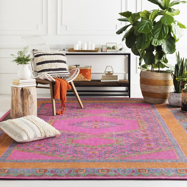 Fuchsia, Camel, Emerald, Dark Green, Bright Orange Bohemian Area Rug
