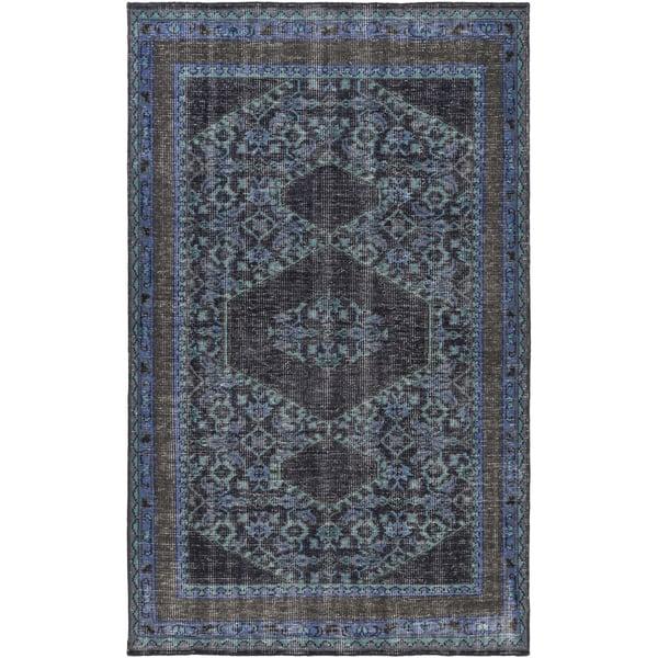 Navy, Teal, Charcoal, Dark Brown, Dark Blue Traditional / Oriental Area Rug