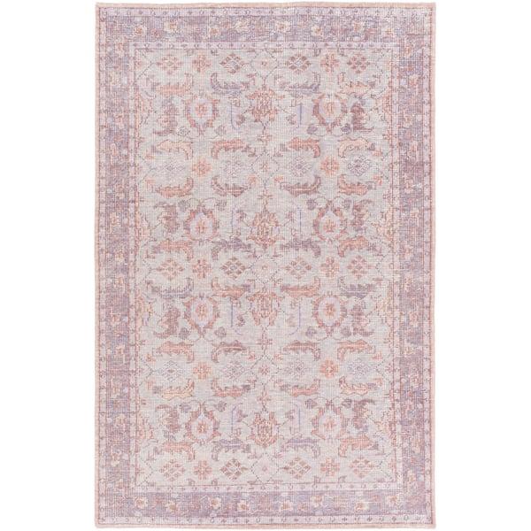 Medium Gray, Dark Purple, Bright Purple, Rose Traditional / Oriental Area Rug