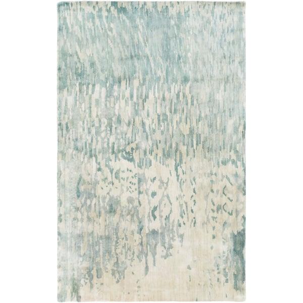 Teal, Sage, Light Gray, Aqua, Khaki Abstract Area Rug