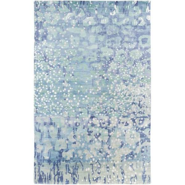 Sky Blue, Sea Foam, Lime Contemporary / Modern Area Rug