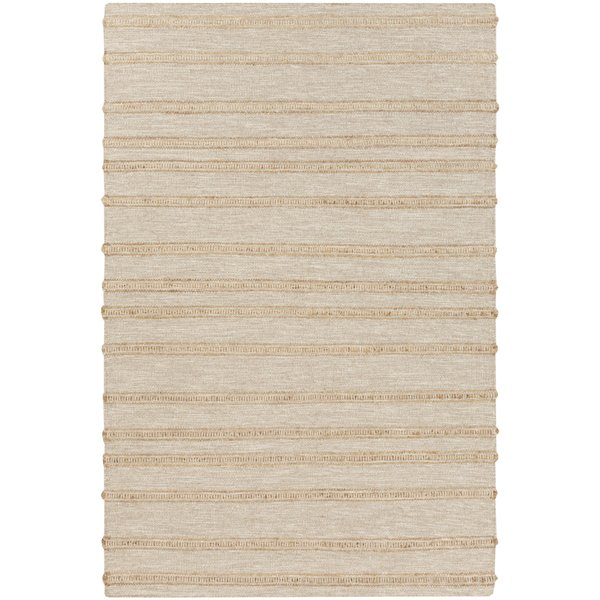 Ivory, Wheat Striped Area Rug