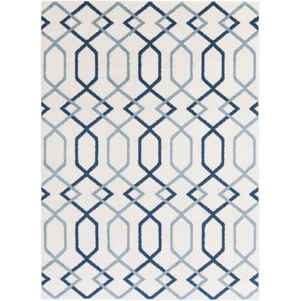 Ivory, Navy, Denim Geometric Area Rug