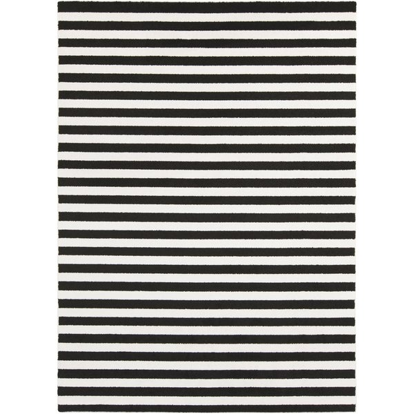 Black, Ivory Striped Area Rug