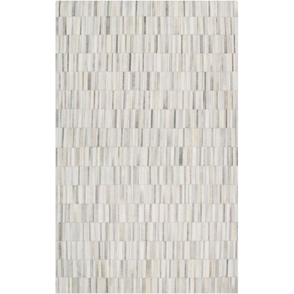 Khaki, White, Medium Grey Abstract Area Rug