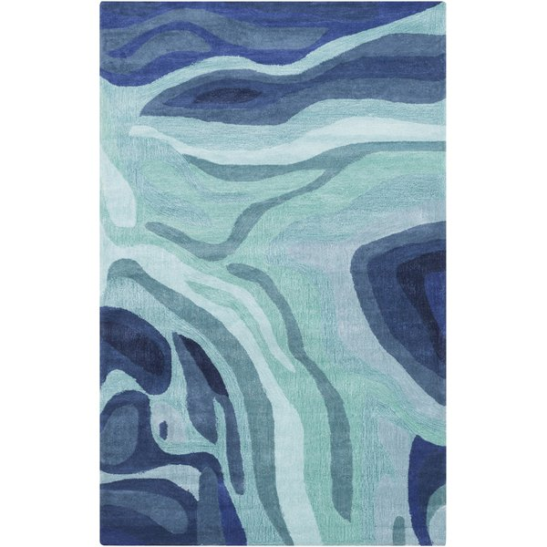 Teal, Dark Blue, Silver Grey Contemporary / Modern Area Rug