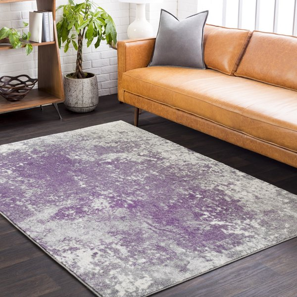 Medium Grey, Dark Purple, Cream Abstract Area-Rugs