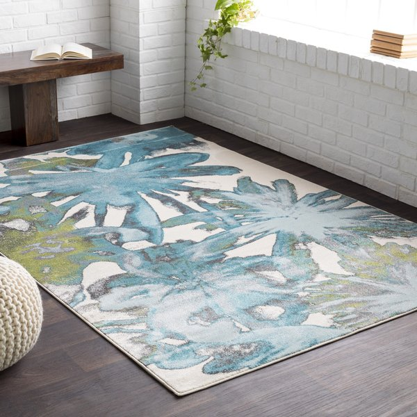 Teal, Charcoal, Light Gray Floral / Botanical Area-Rugs