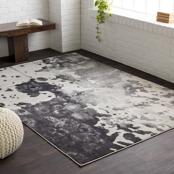 Gray, Light Gray, Charcoal Contemporary / Modern Area Rug
