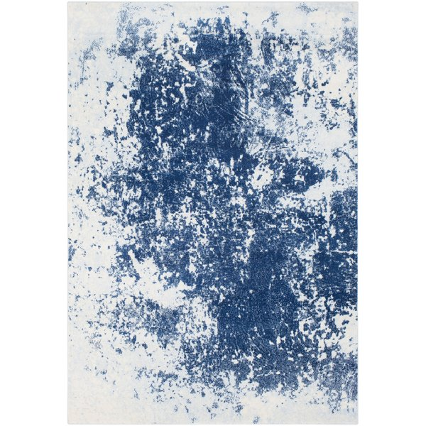 Bright Blue, Pale Blue, Navy Abstract Area Rug