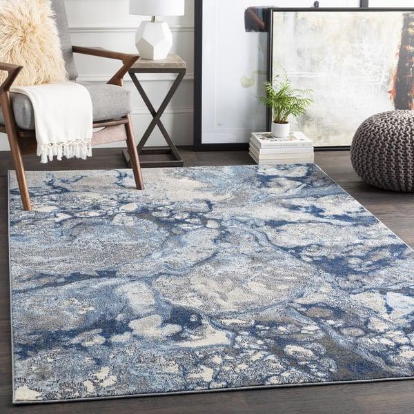 Bright Blue, Navy, Medium Grey Abstract Area-Rugs