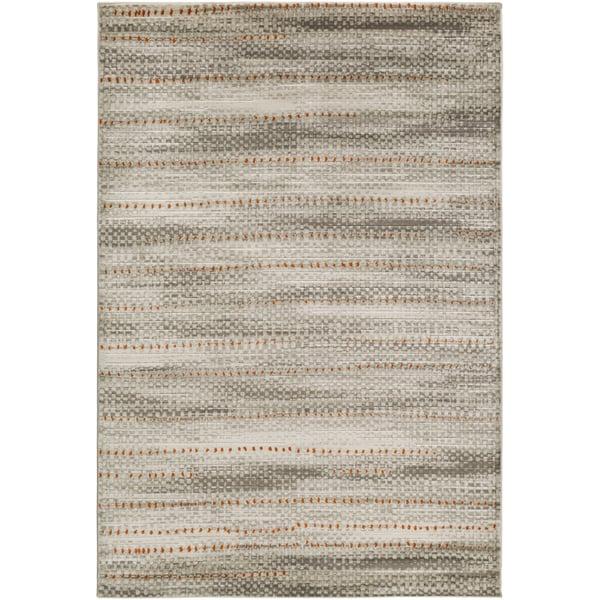 Light Gray, Dark Brown, Burnt Orange Contemporary / Modern Area Rug