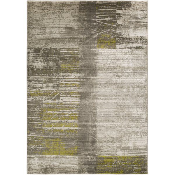 Light Gray, Olive, Dark Brown Contemporary / Modern Area Rug