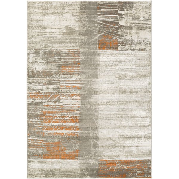 Light Gray, Dark Brown, Burnt Orange Contemporary / Modern Area Rug