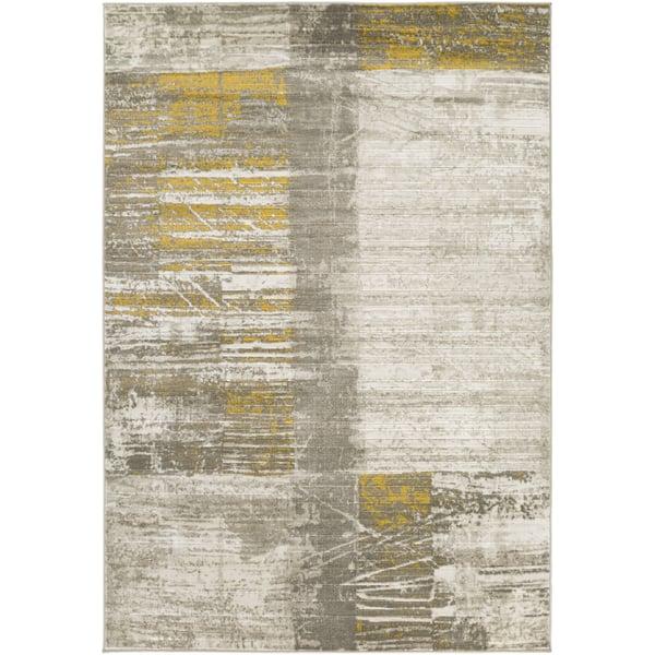 Light Gray, Dark Brown, Mustard Contemporary / Modern Area Rug