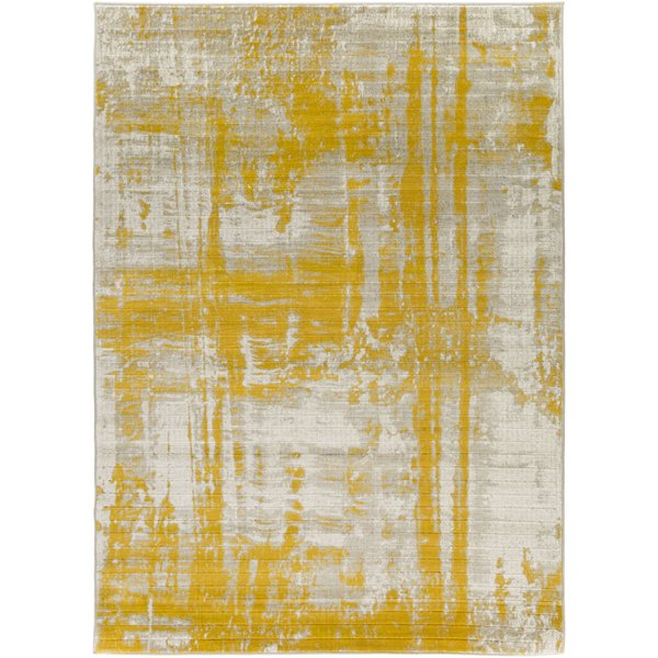 Light Gray, Mustard, Dark Brown Contemporary / Modern Area Rug