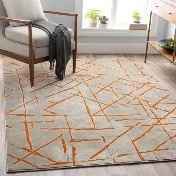 Burnt Orange, Light Gray Contemporary / Modern Area Rug