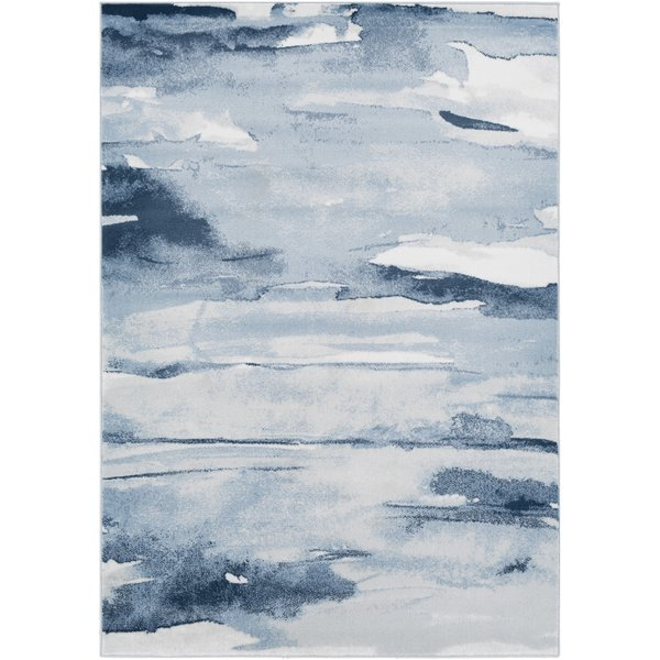 Denim, Navy, Light Gray Abstract Area Rug