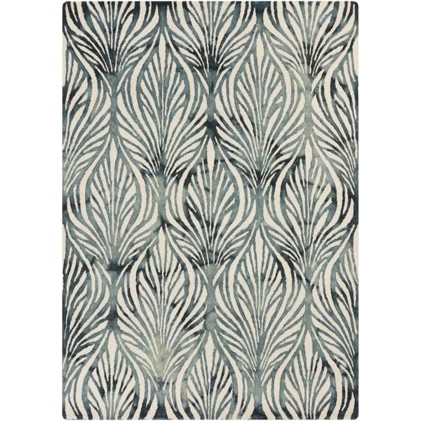 Teal, Ivory, Slate Floral / Botanical Area-Rugs
