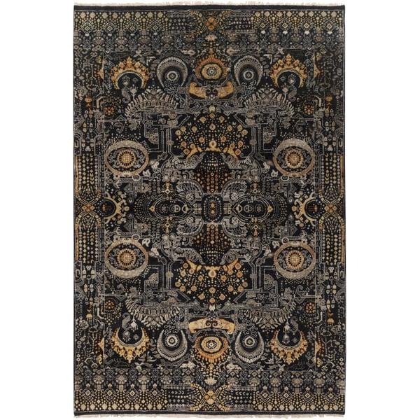 Black, Gold, Burnt Orange, Light Gray Traditional / Oriental Area Rug