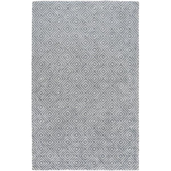 Light Gray, Navy Contemporary / Modern Area Rug