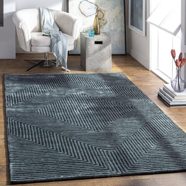 Sage, Black Contemporary / Modern Area Rug