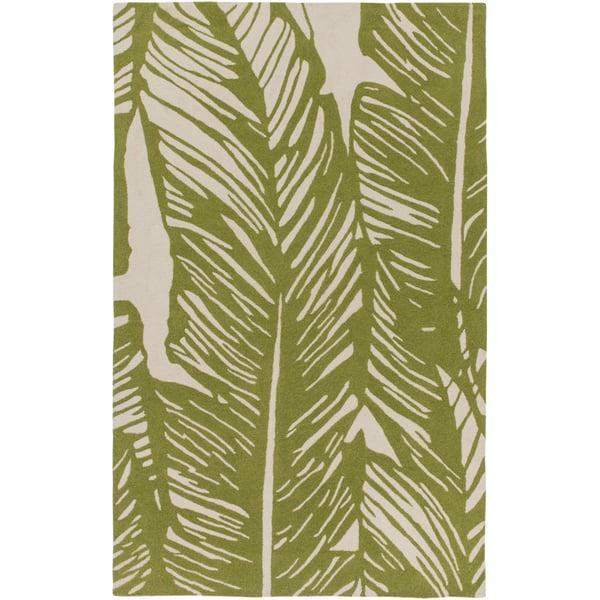 Beige, Olive Floral / Botanical Area Rug