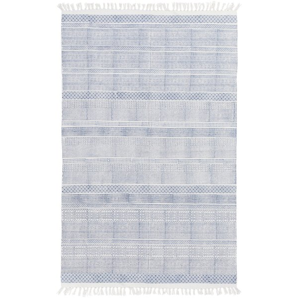Dark Blue, Ivory Contemporary / Modern Area Rug