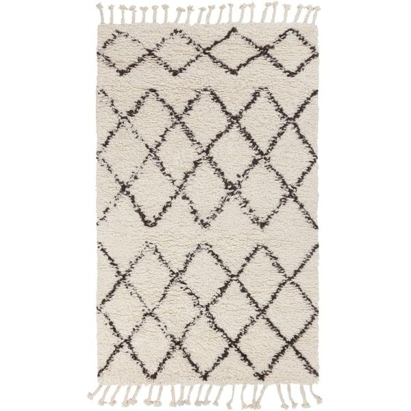 Dark Brown, Cream Moroccan Area-Rugs