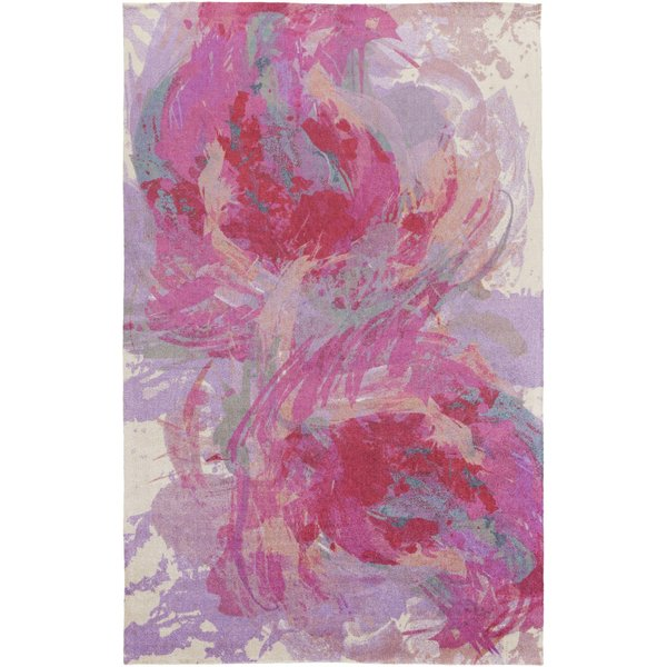 Hot Pink, Lavender, Teal, Peach Contemporary / Modern Area-Rugs