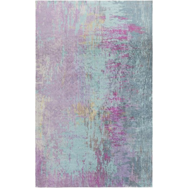 Teal, Mauve, Magenta, Olive Contemporary / Modern Area Rug