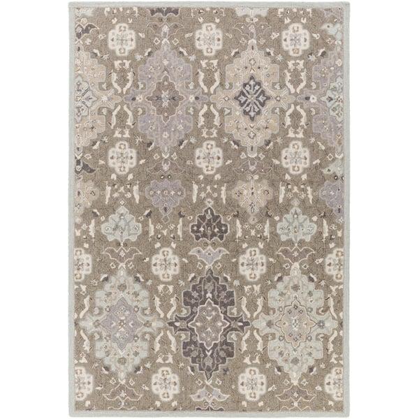 Taupe, Light Gray, Charcoal, Medium Gray, Black Traditional / Oriental Area Rug
