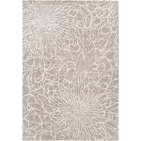 Taupe, Ivory Contemporary / Modern Area Rug