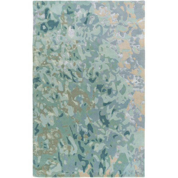 Teal, Ice Blue, Tan Abstract Area Rug