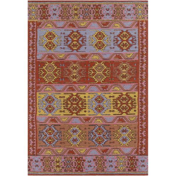 Bright Red, Blush, Metallic Gold, Denim (SAJ-1075) Bohemian Area Rug