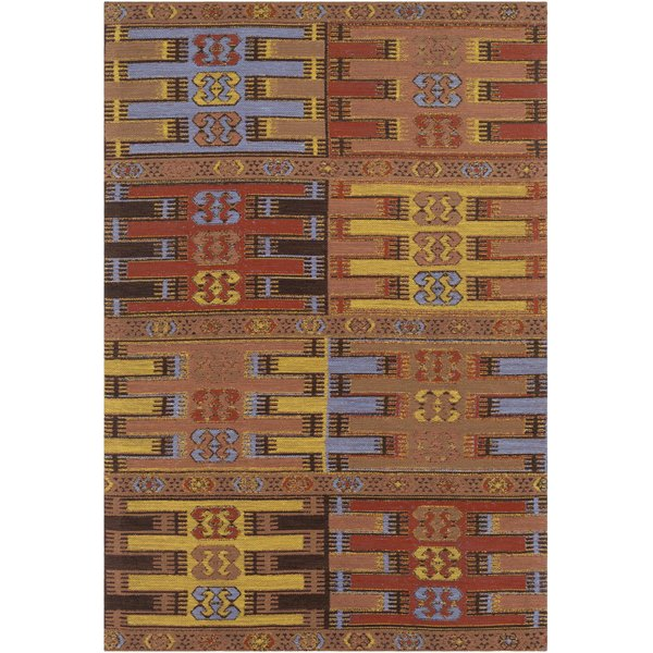 Bright Red, Peach, Metallic Gold, Brown (SAJ-1076) Bohemian Area Rug