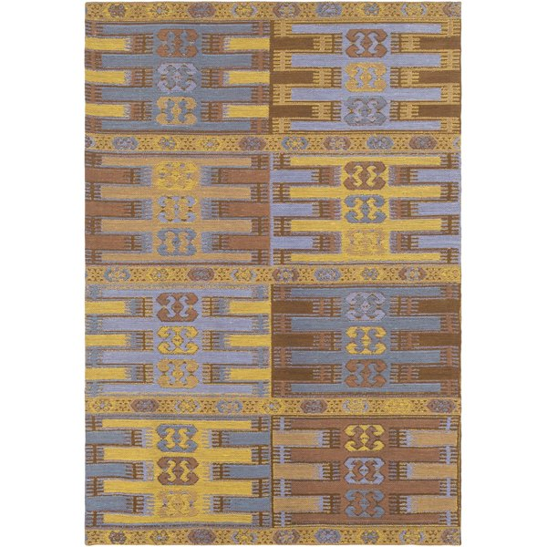 Mustard, Metallic Gold, Denim, Aqua (SAJ-1078) Bohemian Area Rug