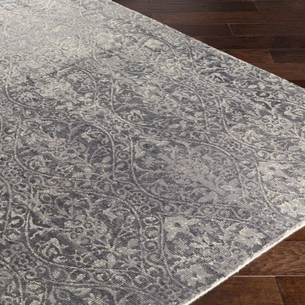Medium Gray, Charcoal, Cream Traditional / Oriental Area Rug