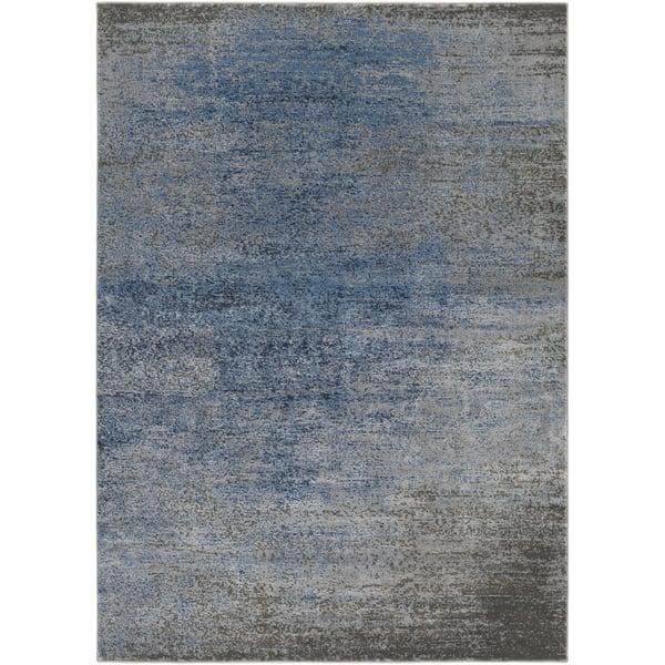 Denim, Light Gray, Dark Blue Abstract Area Rug