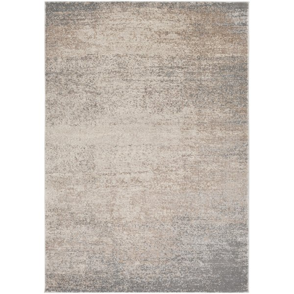 Taupe, Dark Brown, Cream, Ivory Abstract Area Rug
