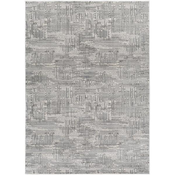 Medium Gray, Dark Brown, Light Gray, Cream Contemporary / Modern Area Rug