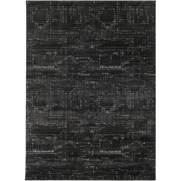 Black, Light Gray, White, Medium Gray Contemporary / Modern Area Rug