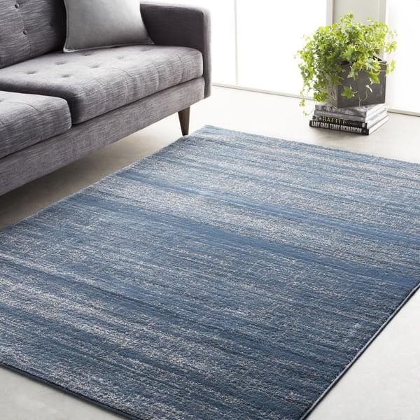 Bright Blue, Medium Gray Traditional / Oriental Area-Rugs